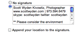 a photographers email signature